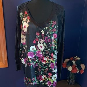Bisou Bisou Floral print blouse w/ open knit XL